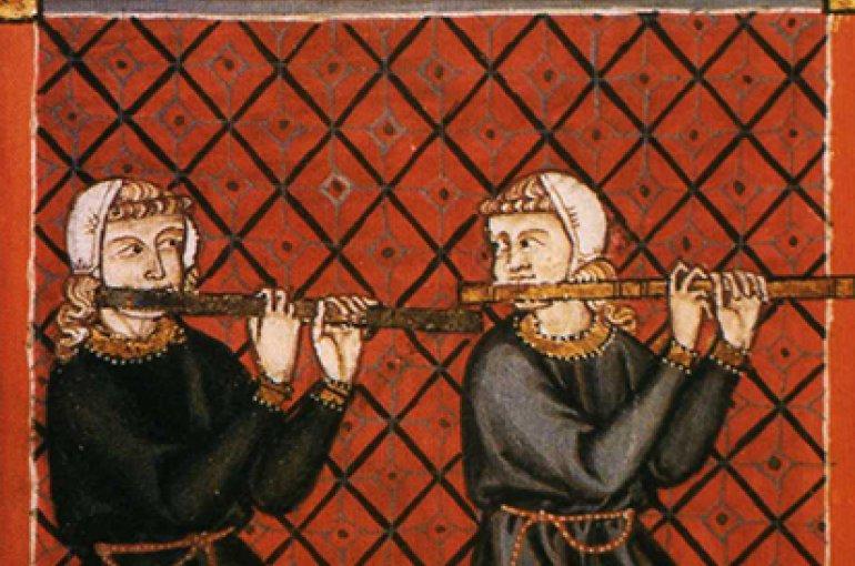 Links: Twee fluitspelers in het Cantigas de Santa Maria. Rechts: Graduale Aboense, 14e/15e eeuw. Bron: Wikimedia