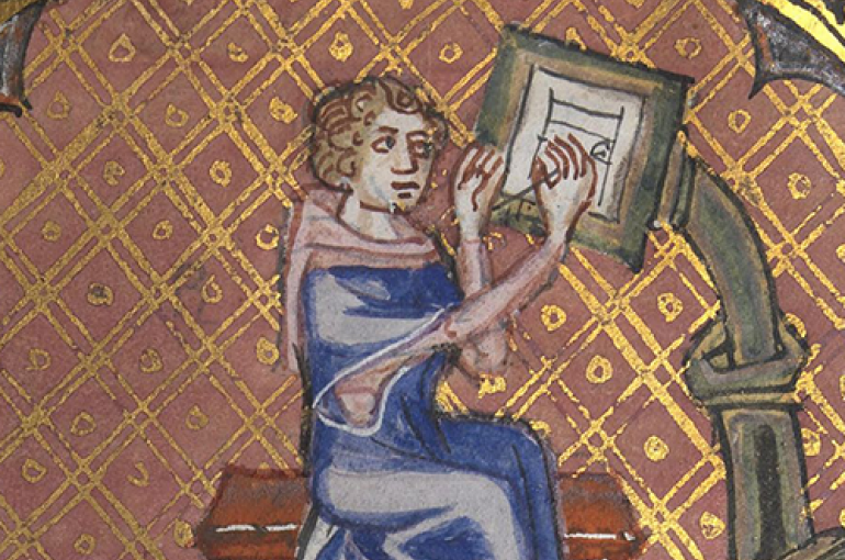 The author of a manuscript at his writing desk. From the Roman de la Rose, 14th century / National Library of Wales