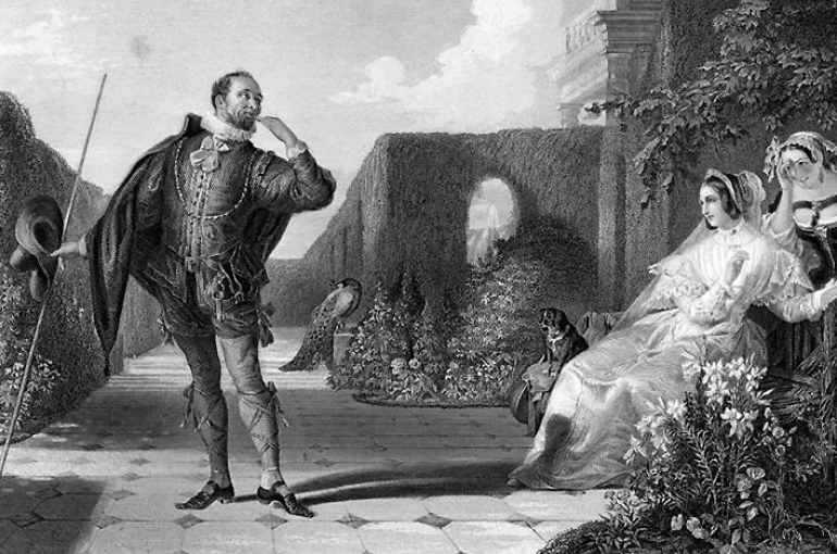 Malvolio and the Countess (Twelfth Night, or What You Will by Shakespeare) by Caniel Maclise (1806-1870). Bron: Wikimedia
