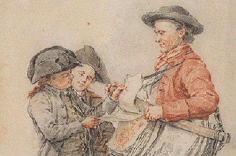 Links: De prentverkoper, Jacob Perkois, 1784. Rechts: Marskramer, Gillis van Scheyndel (I), 1630-1706. Bron: Rijksmuseum Amsterdam