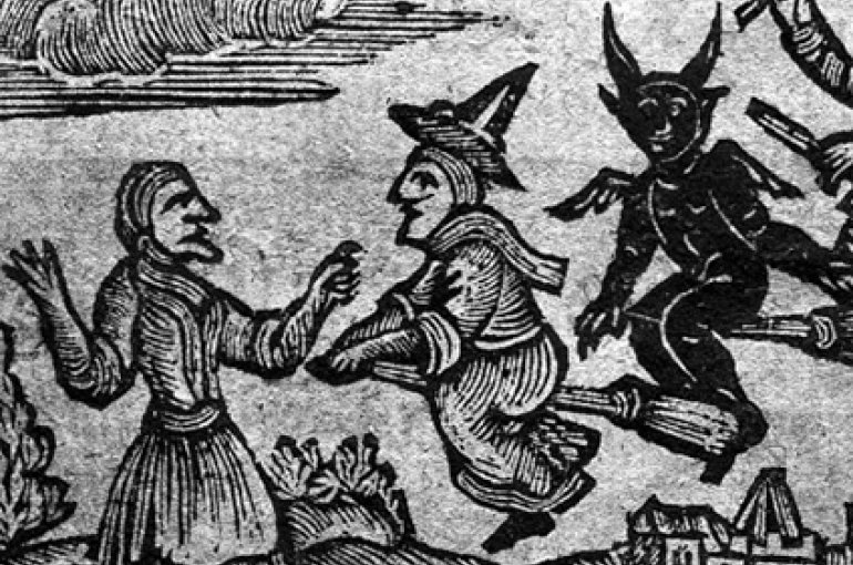Woodcut from a 1720 collection by William Dodd shows both male and female witches flying on broomsticks. Photo: Wellcome Library, London.