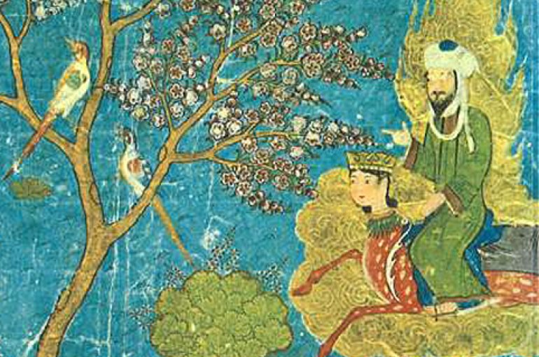 """Mohammed (upper right) visiting Paradise while riding Buraq, accompanied by the Angel Gabriel (upper left). Below them, riding camels, are some of the fabled houris of Paradise -- the """"virgins"""" promised to heroes and martyrs. - Wikimedia Commons"""