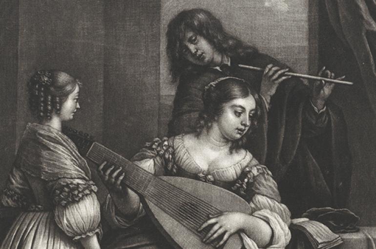 Musicerend paar met luit en dwarsfluit, Wallerant Vaillant, naar Gerard Pietersz. van Zijl, 1658 - 1677. Bron: Rijksmuseum