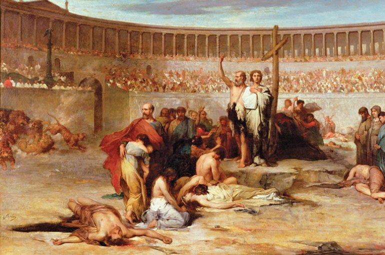 Keizer Nero begon de vervolging van christenen en velen volgden zijn voorbeeld. Christenen werden onder meer ter vermaak afgeslacht. Bron: Wikimedia/Eugene Thirion
