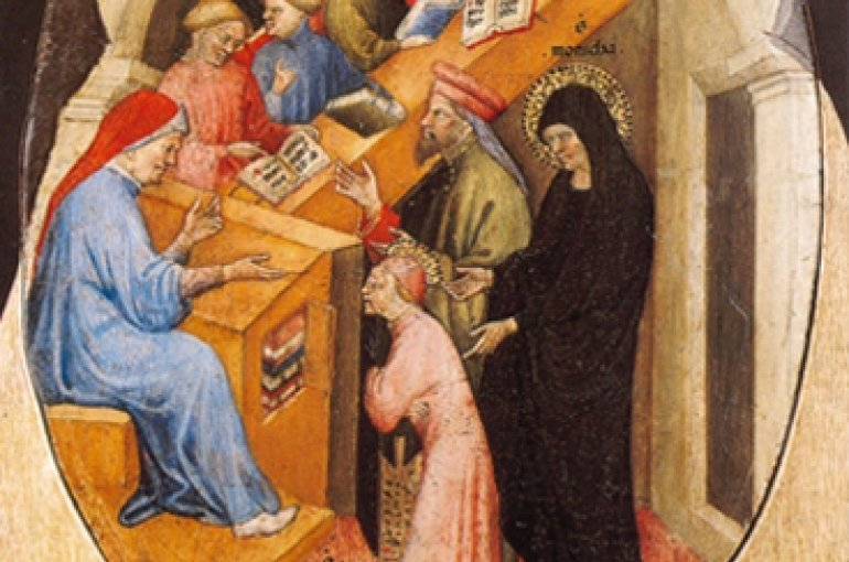 The Saint Augustine Taken to School by Saint Monica  (1413-1415). Artist: Nicolo di Pietro - Wikimedia Commons
