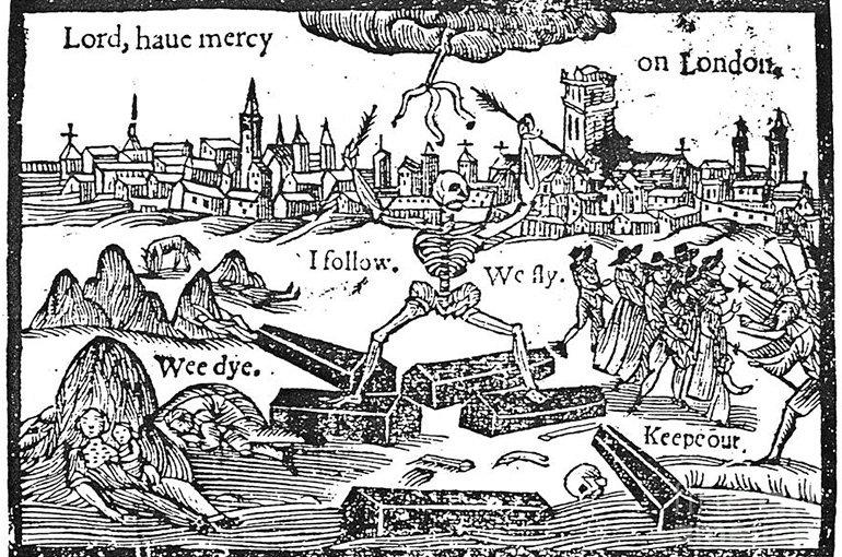Een beroemde prent. Terwijl de mensen sterven (linksonder) trachten anderen Londen te ontvluchten (rechts), maar de dood (midden) volgt hen. De vluchtelingen zijn dan ook niet welkom in andere steden (uiterst rechts).