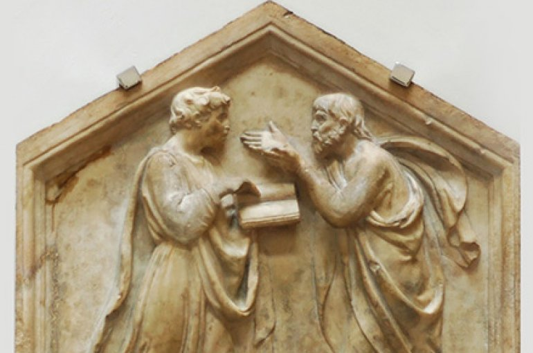Plato and Aristotle. Marble panel from the North side, lower basement of the bell tower of Florence, Italy. Museo dell'Opera del Duomo. Source: Wikimedia Commons/Jastrow