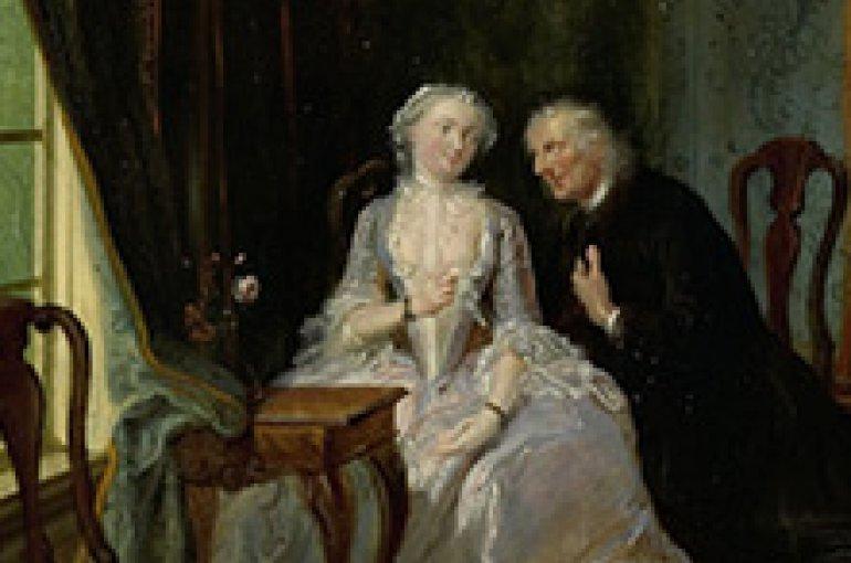 'De wanhebbelijke liefde', misschien de scène van de weduwnaar Joost bij Lucia, 2de toneel uit het gelijknamige stuk van C.J. van der Lijn, Cornelis Troost, 1720 - 1750
