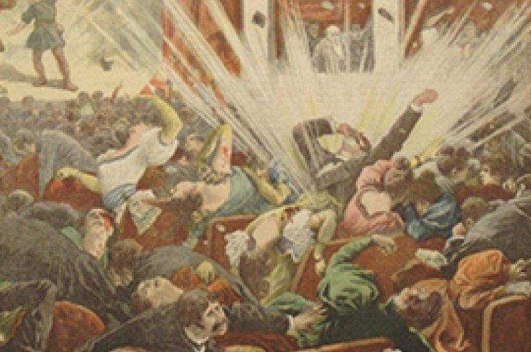Explosie van de Opera van het Liceu van Barcelona door de anarchist Santiago Salvador Franch in de omslag van de krant Le Petit Journal, 25 november 1893.