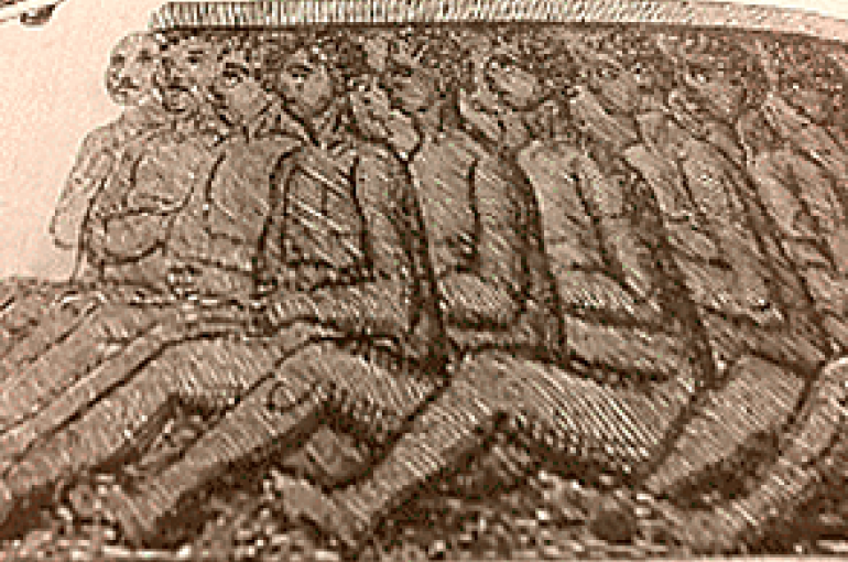 Transport van slaven per schip. Bron: Wikimedia Commons