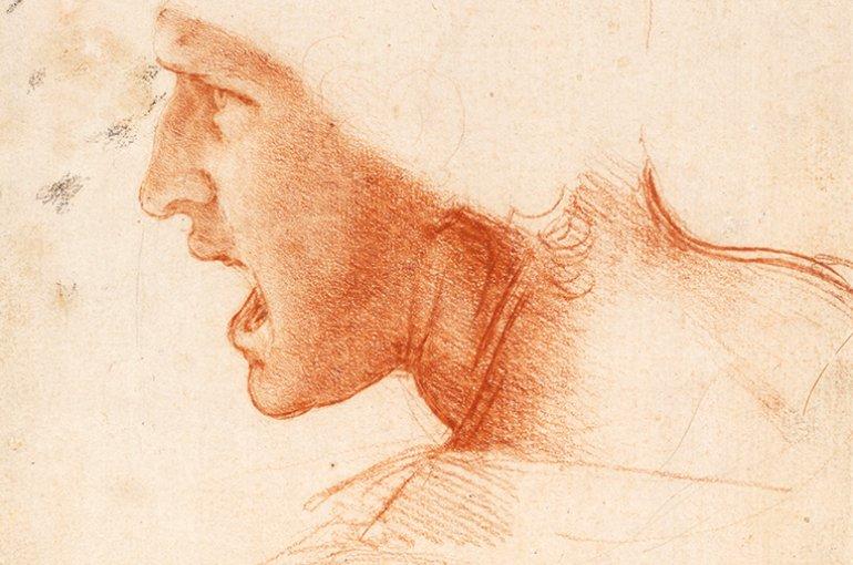 Studie van het hoofd van een krijgsman in profiel, ca. 1504-05  Rood krijt op lichtroze geprepareerd papier door Leonardo da Vinci, Boedapest, Szépmüvészeti Múzeum