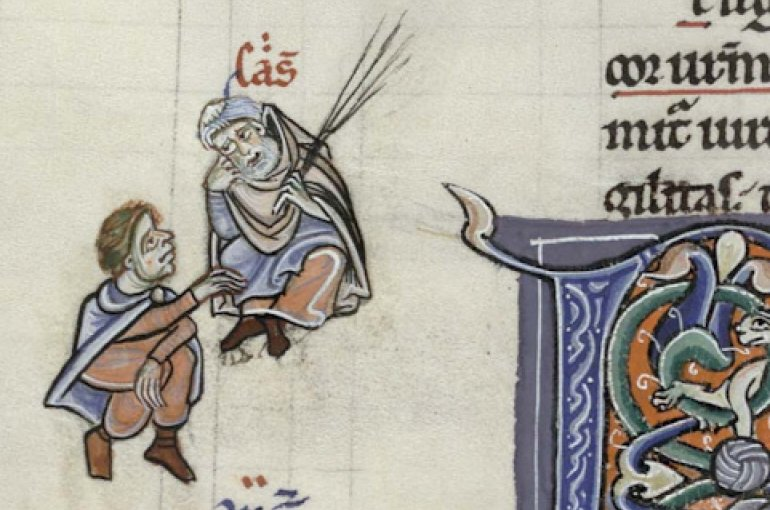 Cassiodore teaching a student in the margin of Cambridge, Trinity College, B.5.4, fol. 84v. Bron: voicesfromtheedge.huygens.knaw.nl