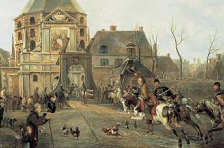 Aankomst kozakken bij de Wittevrouwenpoort in Utrecht op 28 november 1813, door Pieter Gerardus van Os (1816). Coll. Centraal Museum, Utrecht. Bron: Wikimedia