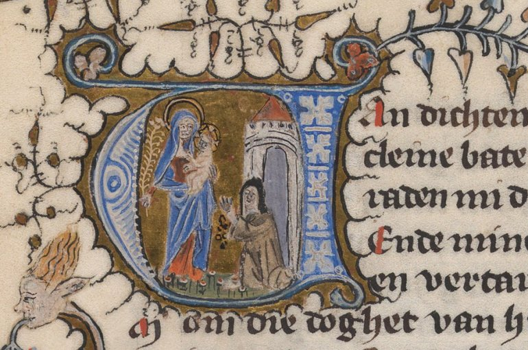 Illuminated initial at the beginning of the Beatrijs legend. The Hague, Royal Library, 76 E 5