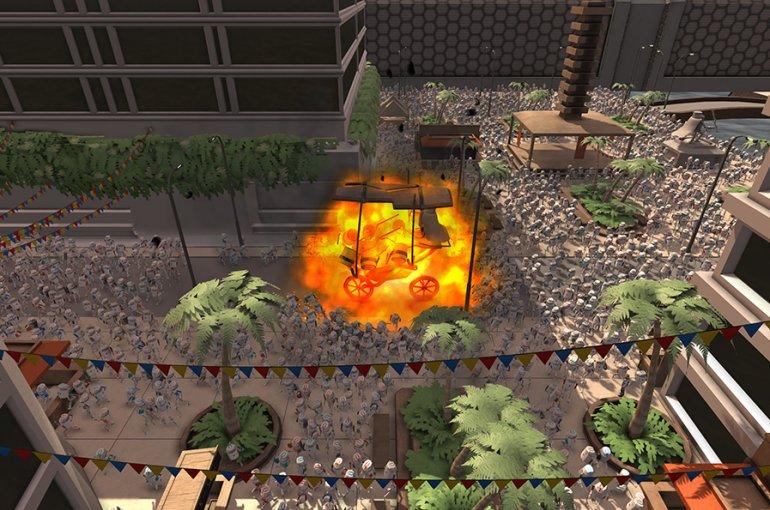 Beeld uit een game waarvoor simulatiesoftware van uCrowds is gebruikt