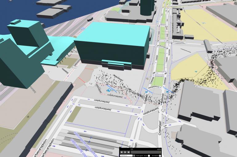 Simulatie van het Utrechtse Jaarbeursplein