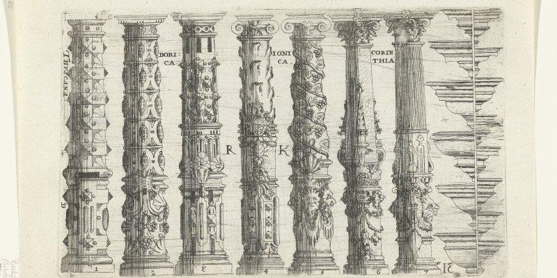Zeven zuilen en hoofdgestellen, anoniem, Jean Messager, 1622  - Rijksmuseum